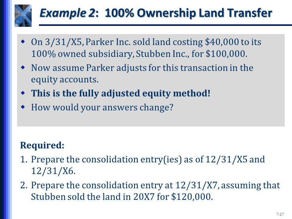 7-17 Example 2: 100% Ownership Land Transfer  On 3/31/X5, Parker Inc.
