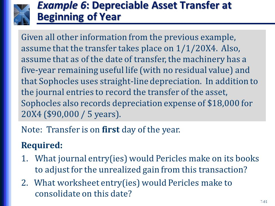 7-61 Example 6: Depreciable Asset Transfer at Beginning of Year Given all other information from the previous example, assume that the transfer takes place on 1/1/20X4.