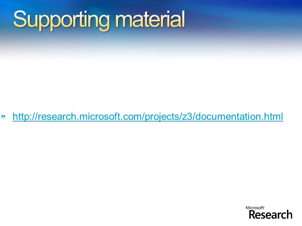 http://research.microsoft.com/projects/z3/documentation.html