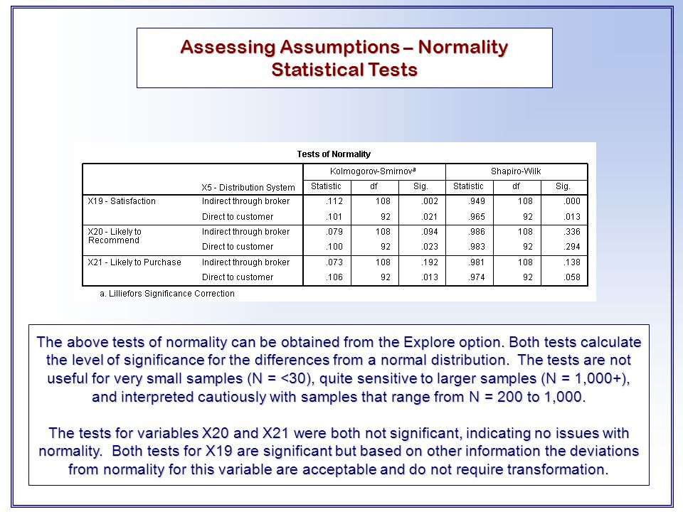 The above tests of normality can be obtained from the Explore option. Both tests calculate the level of significance for the differences from a normal