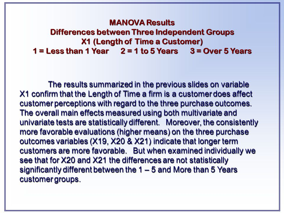 The results summarized in the previous slides on variable X1 confirm that the Length of Time a firm is a customer does affect customer perceptions wit