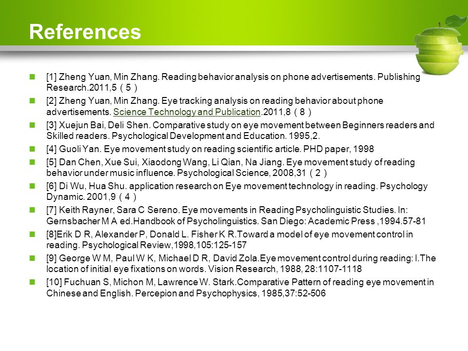 References [1] Zheng Yuan, Min Zhang. Reading behavior analysis on phone advertisements.