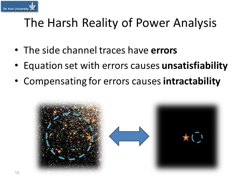 The Harsh Reality of Power Analysis The side channel traces have errors Equation set with errors causes unsatisfiability Compensating for errors cause