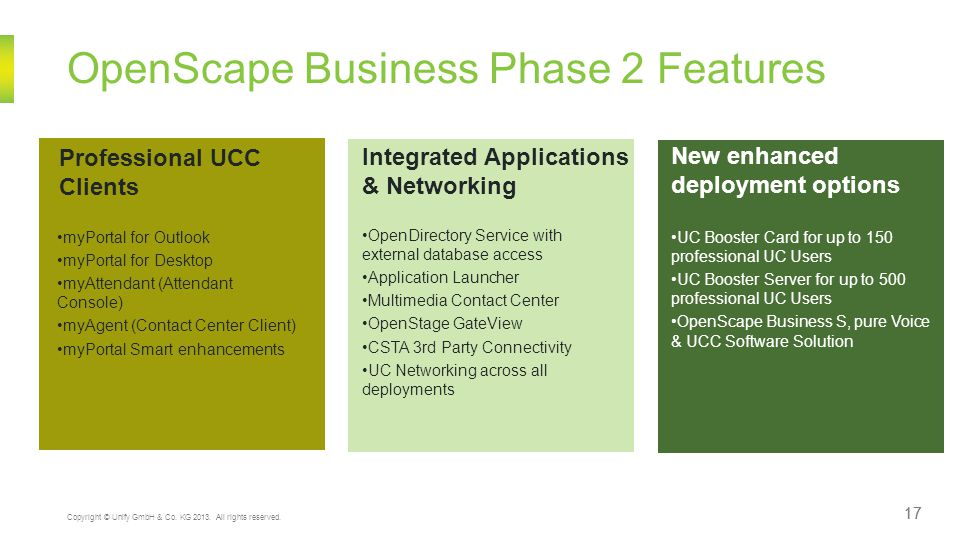 OpenScape Business Phase 2 Features Professional UCC Clients myPortal for Outlook myPortal for Desktop myAttendant (Attendant Console) myAgent (Contact Center Client) myPortal Smart enhancements Integrated Applications & Networking OpenDirectory Service with external database access Application Launcher Multimedia Contact Center OpenStage GateView CSTA 3rd Party Connectivity UC Networking across all deployments New enhanced deployment options UC Booster Card for up to 150 professional UC Users UC Booster Server for up to 500 professional UC Users OpenScape Business S, pure Voice & UCC Software Solution 17 Copyright © Unify GmbH & Co.