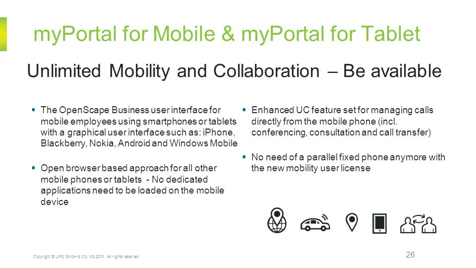 myPortal for Mobile & myPortal for Tablet 26 Unlimited Mobility and Collaboration – Be available Copyright © Unify GmbH & Co.