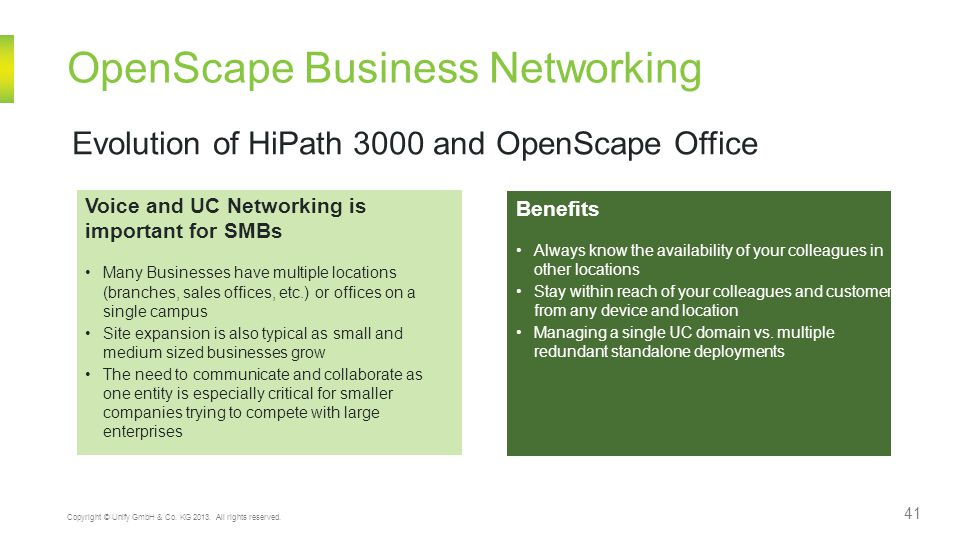 OpenScape Business Networking 41 Copyright © Unify GmbH & Co.