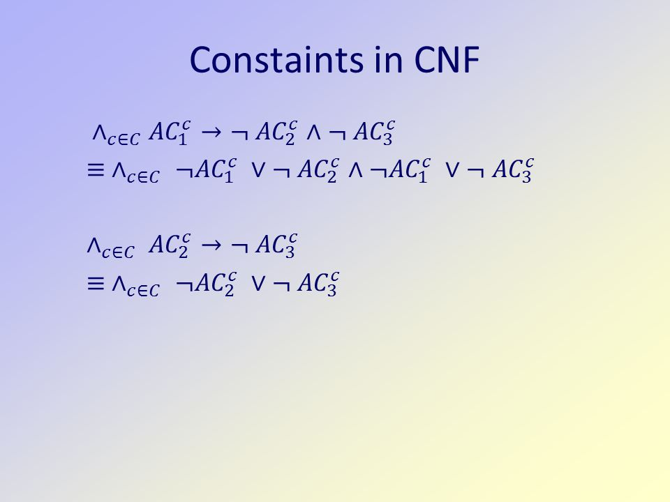 Constaints in CNF