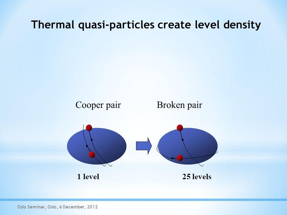 Thermal quasi-particles create level density Oslo Seminar, Oslo, 6 December, 2012 Cooper pair Broken pair 1 level 25 levels