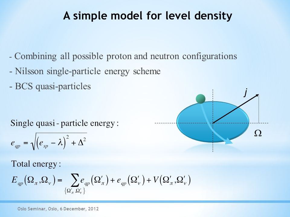 A simple model for level density Oslo Seminar, Oslo, 6 December, 2012 - Combining all possible proton and neutron configurations - Nilsson single-particle energy scheme - BCS quasi-particles  j