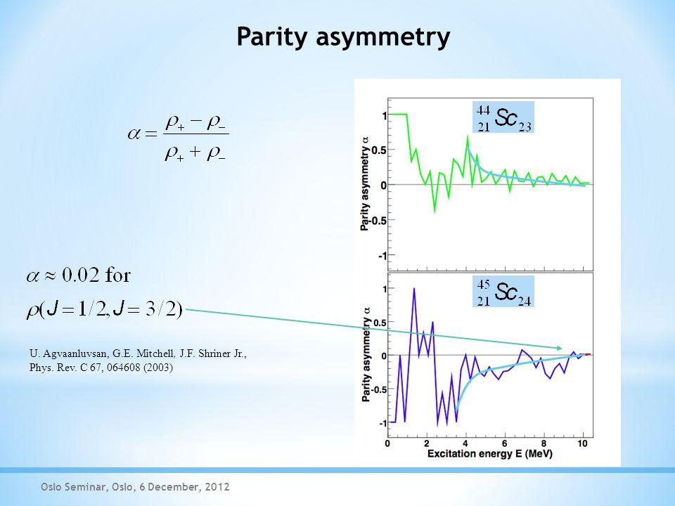 Parity asymmetry Oslo Seminar, Oslo, 6 December, 2012 U.