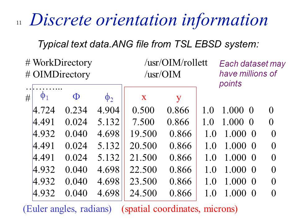11 Discrete orientation information # WorkDirectory/usr/OIM/rollett # OIMDirectory/usr/OIM ………...
