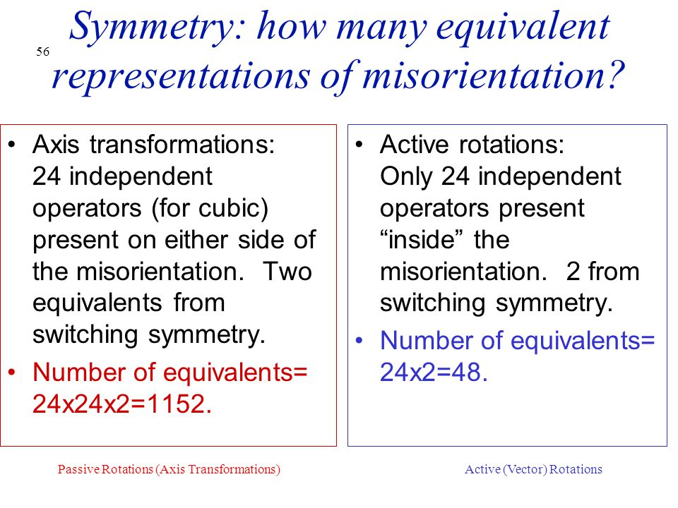 56 Symmetry: how many equivalent representations of misorientation? Axis transformations: 24 independent operators (for cubic) present on either side
