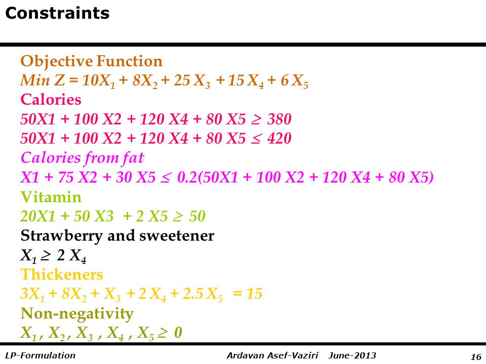 16 Ardavan Asef-Vaziri June-2013LP-Formulation Constraints Objective Function Min Z = 10X 1 + 8X 2 + 25 X 3 + 15 X 4 + 6 X 5 Calories 50X1 + 100 X2 + 120 X4 + 80 X5  380 50X1 + 100 X2 + 120 X4 + 80 X5  420 Calories from fat X1 + 75 X2 + 30 X5  0.2(50X1 + 100 X2 + 120 X4 + 80 X5) Vitamin 20X1 + 50 X3 + 2 X5  50 Strawberry and sweetener X 1  2 X 4 Thickeners 3X 1 + 8X 2 + X 3 + 2 X 4 + 2.5 X 5 = 15 Non-negativity X 1, X 2, X 3, X 4, X 5  0