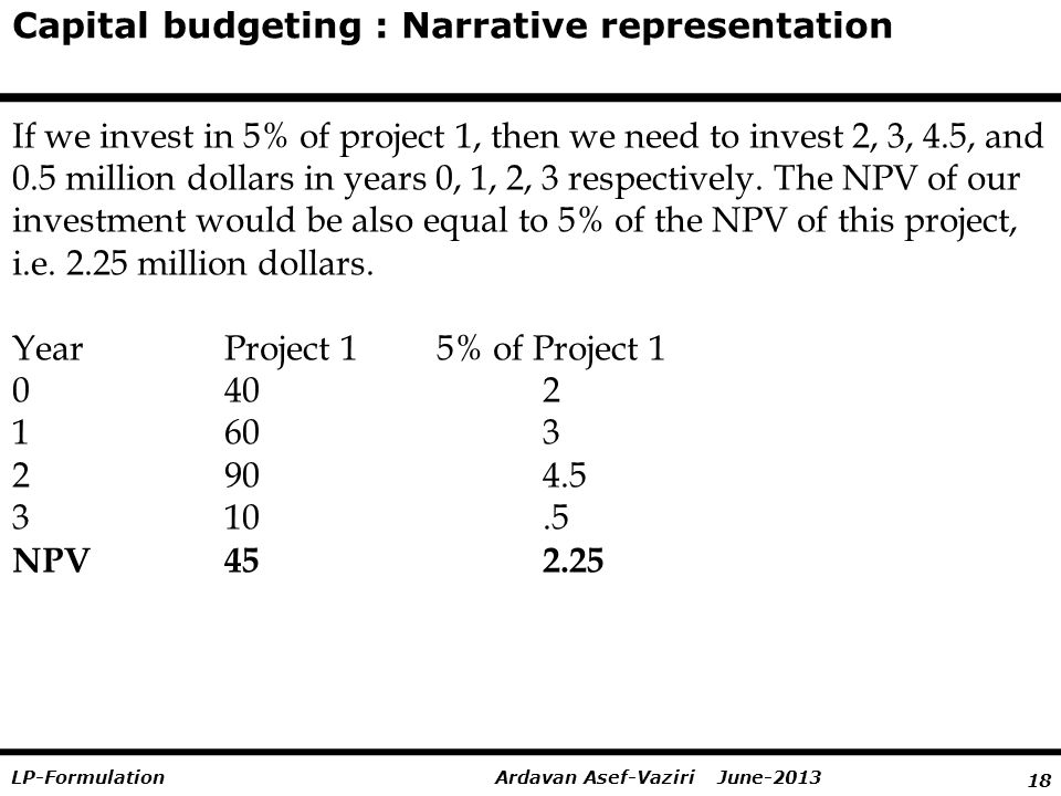 18 Ardavan Asef-Vaziri June-2013LP-Formulation Capital budgeting : Narrative representation If we invest in 5% of project 1, then we need to invest 2, 3, 4.5, and 0.5 million dollars in years 0, 1, 2, 3 respectively.