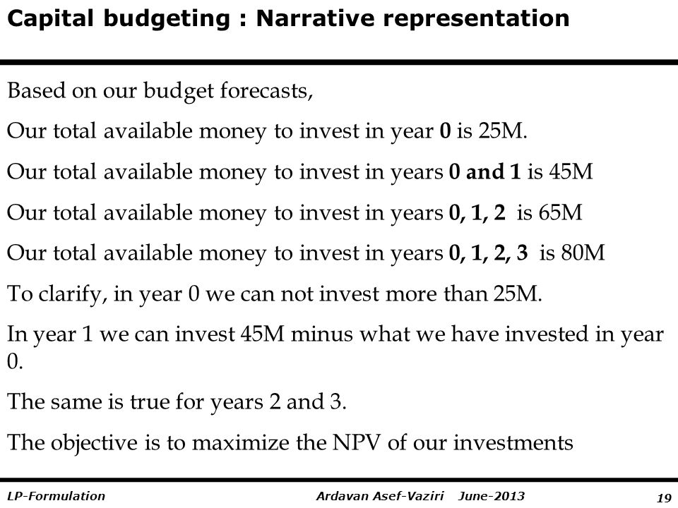 19 Ardavan Asef-Vaziri June-2013LP-Formulation Capital budgeting : Narrative representation Based on our budget forecasts, Our total available money to invest in year 0 is 25M.