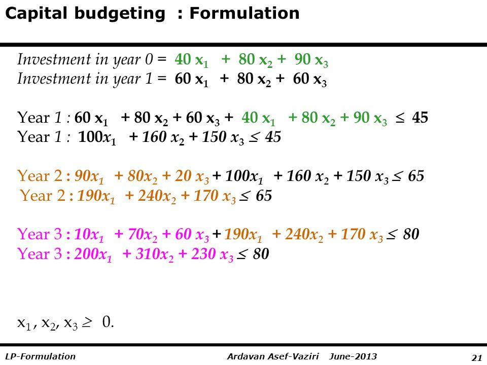 21 Ardavan Asef-Vaziri June-2013LP-Formulation Investment in year 0 = 40 x 1 + 80 x 2 + 90 x 3 Investment in year 1 = 60 x 1 + 80 x 2 + 60 x 3 Year 1 : 60 x 1 + 80 x 2 + 60 x 3 + 40 x 1 + 80 x 2 + 90 x 3  45 Year 1 : 100 x 1 + 160 x 2 + 150 x 3  45 Year 2 : 90x 1 + 80x 2 + 20 x 3 + 100x 1 + 160 x 2 + 150 x 3  65 Year 2 : 190x 1 + 240x 2 + 170 x 3  65 Year 3 : 10x 1 + 70x 2 + 60 x 3 + 190x 1 + 240x 2 + 170 x 3  80 Year 3 : 200x 1 + 310x 2 + 230 x 3  80 x 1, x 2, x 3  0.