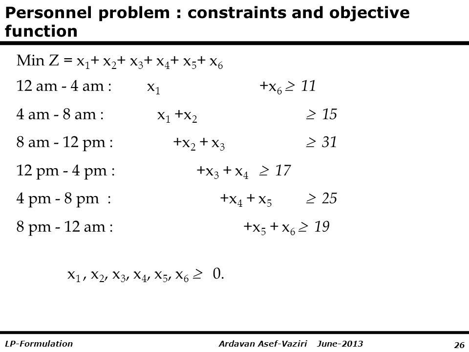 26 Ardavan Asef-Vaziri June-2013LP-Formulation Min Z = x 1 + x 2 + x 3 + x 4 + x 5 + x 6 12 am - 4 am : x 1 +x 6  11 4 am - 8 am : x 1 +x 2  15 8 am - 12 pm : +x 2 + x 3  31 12 pm - 4 pm : +x 3 + x 4  17 4 pm - 8 pm : +x 4 + x 5  25 8 pm - 12 am : +x 5 + x 6  19 x 1, x 2, x 3, x 4, x 5, x 6  0.