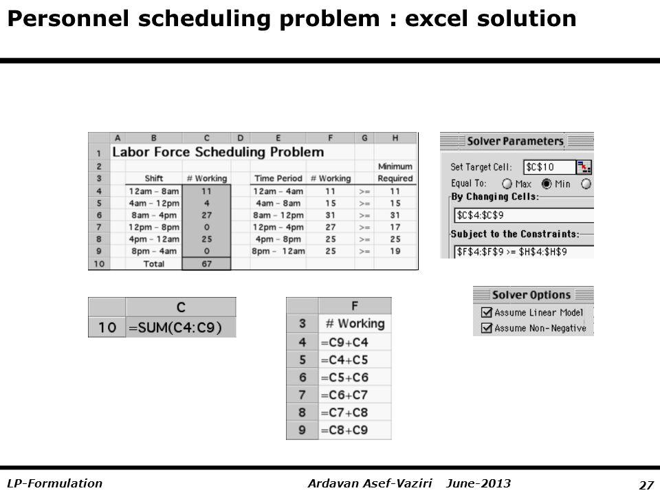 27 Ardavan Asef-Vaziri June-2013LP-Formulation Personnel scheduling problem : excel solution