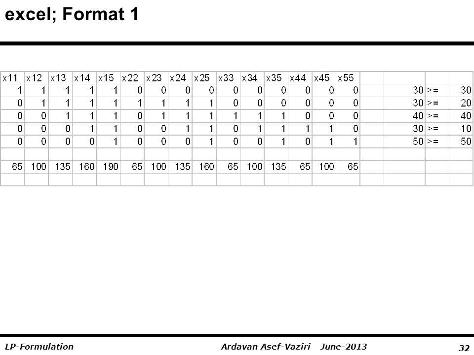 32 Ardavan Asef-Vaziri June-2013LP-Formulation excel; Format 1