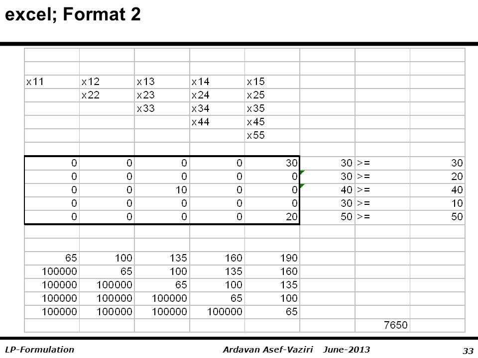 33 Ardavan Asef-Vaziri June-2013LP-Formulation excel; Format 2