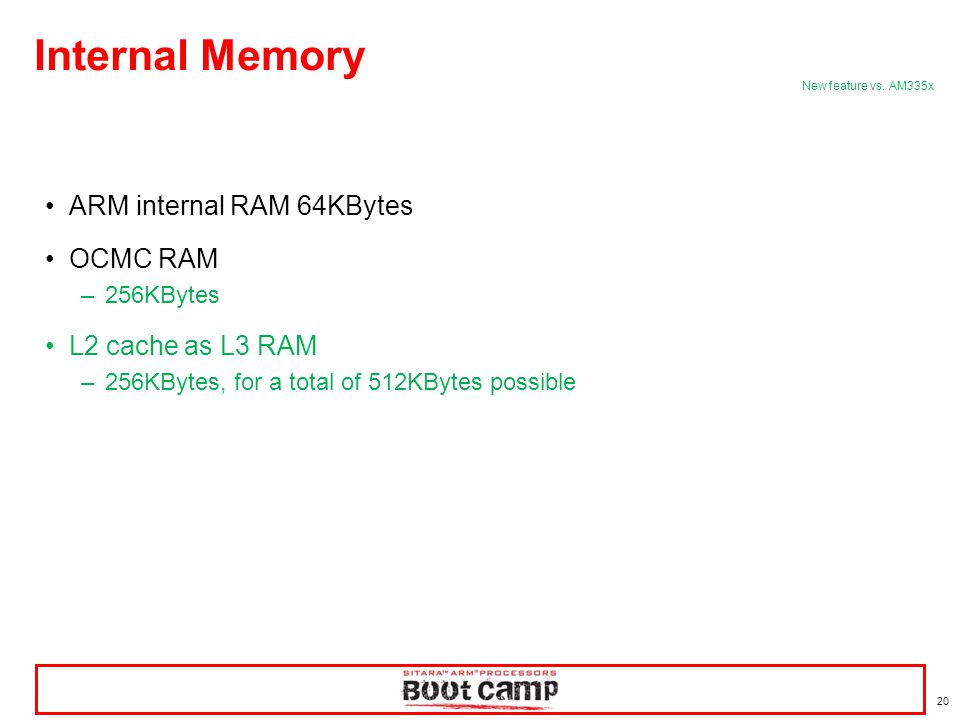 20 ARM internal RAM 64KBytes OCMC RAM –256KBytes L2 cache as L3 RAM –256KBytes, for a total of 512KBytes possible Internal Memory New feature vs. AM33