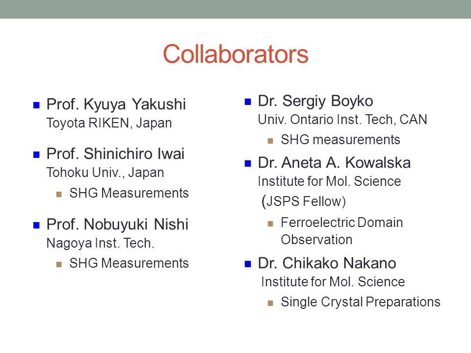 Collaborators Prof.Kyuya Yakushi Toyota RIKEN, Japan Prof.