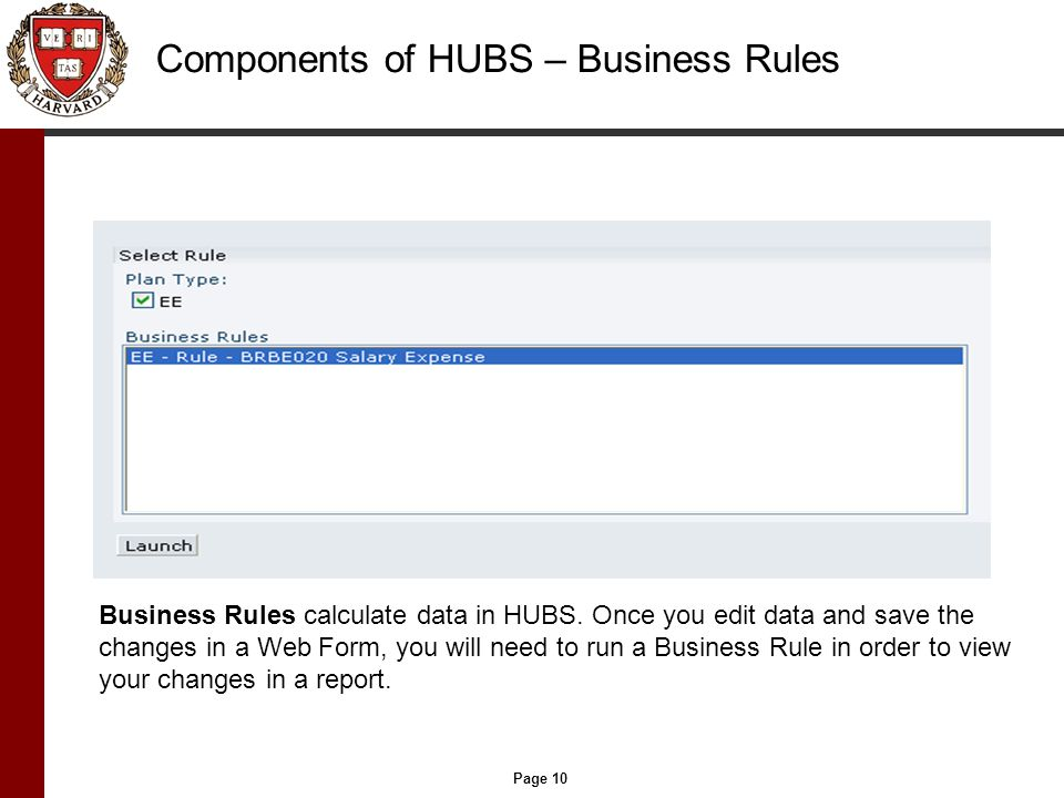 Page 10 Components of HUBS – Business Rules Business Rules calculate data in HUBS.