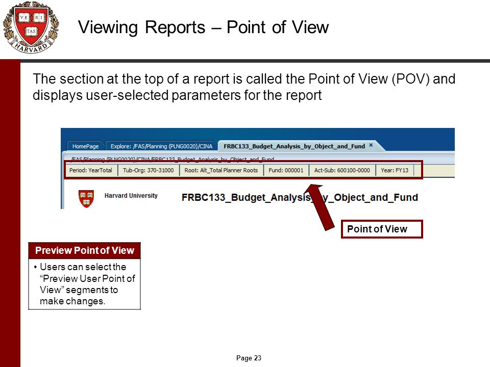 Page 23 Viewing Reports – Point of View The section at the top of a report is called the Point of View (POV) and displays user-selected parameters for the report Point of View Preview Point of View Users can select the Preview User Point of View segments to make changes.