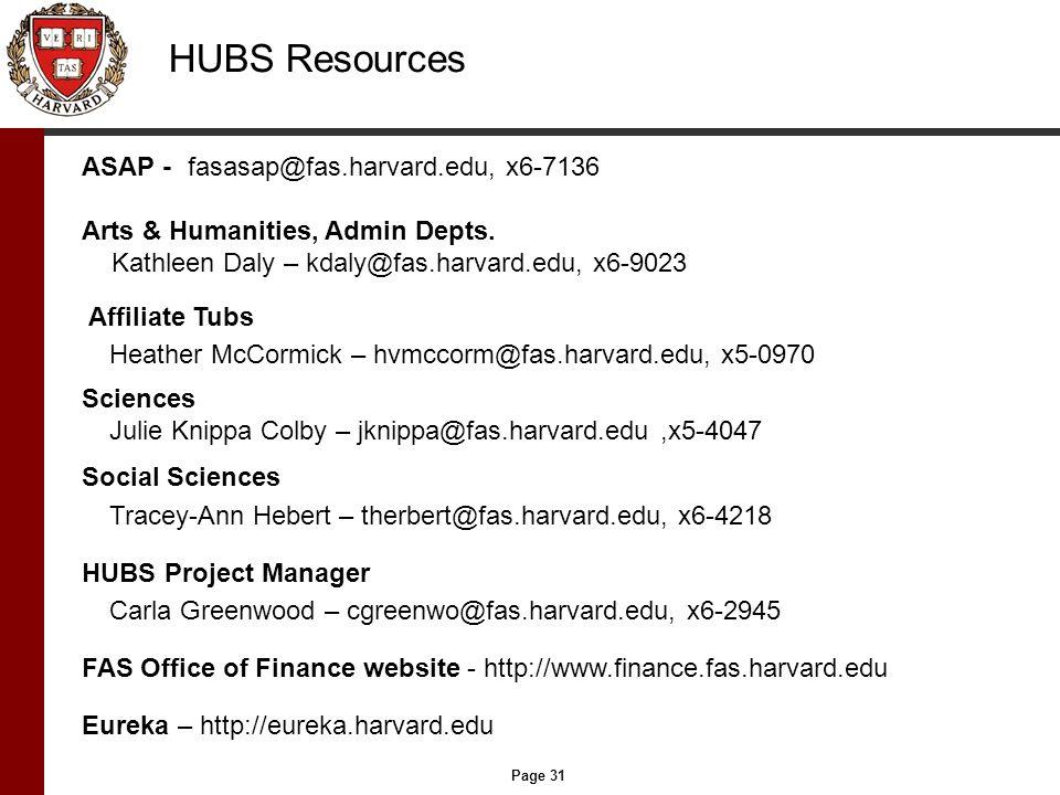 Page 31 HUBS Resources ASAP - fasasap@fas.harvard.edu, x6-7136 Arts & Humanities, Admin Depts. Kathleen Daly – kdaly@fas.harvard.edu, x6-9023 Affiliat