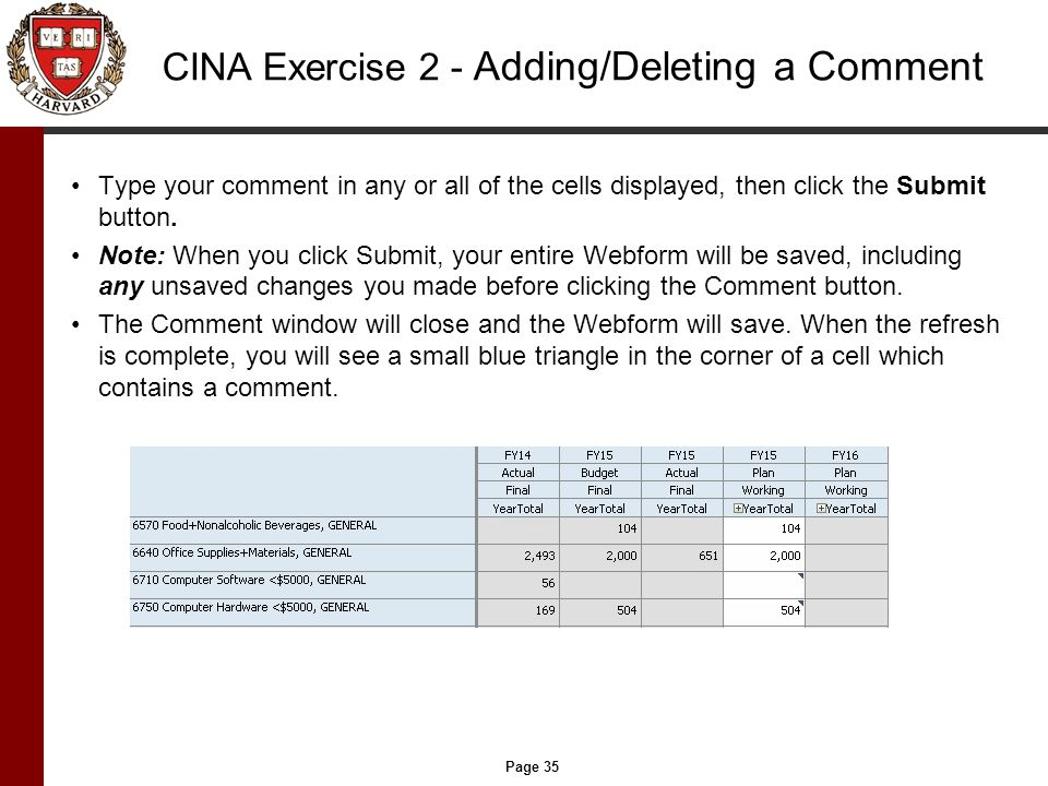 Page 35 CINA Exercise 2 - Adding/Deleting a Comment Type your comment in any or all of the cells displayed, then click the Submit button.