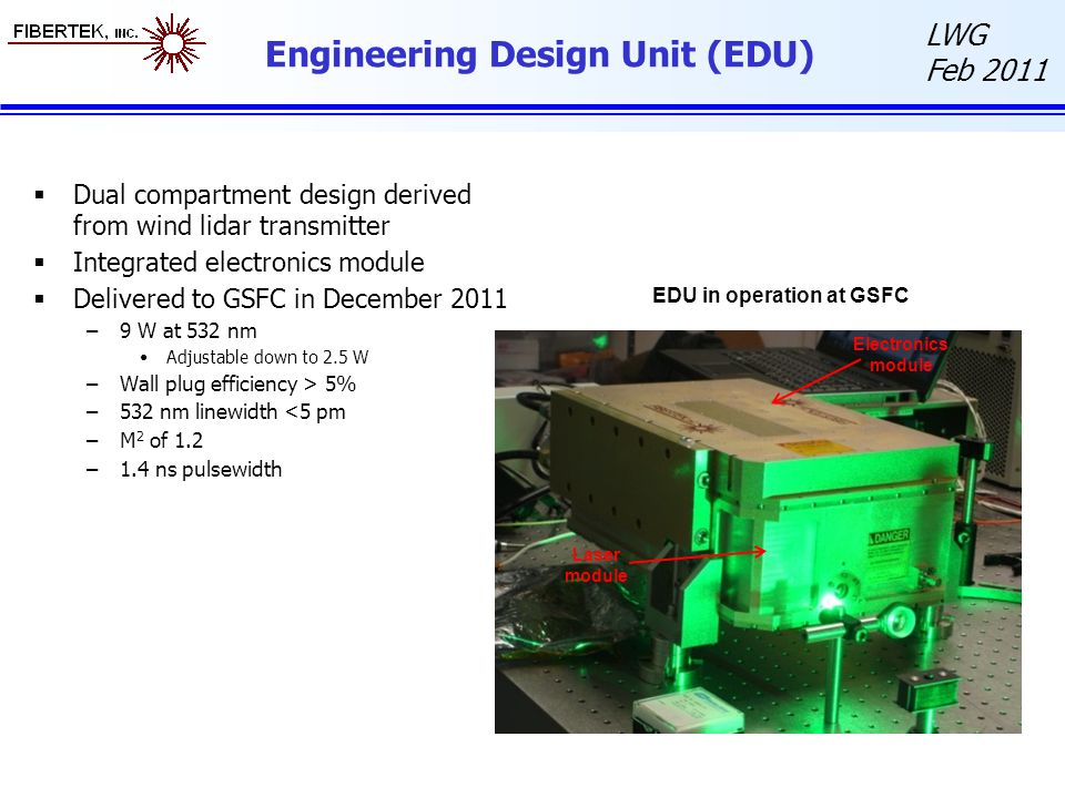 LWG Feb 2011 Engineering Design Unit (EDU)  Dual compartment design derived from wind lidar transmitter  Integrated electronics module  Delivered to GSFC in December 2011 –9 W at 532 nm Adjustable down to 2.5 W –Wall plug efficiency > 5% –532 nm linewidth <5 pm –M 2 of 1.2 –1.4 ns pulsewidth EDU in operation at GSFC Electronics module Laser module