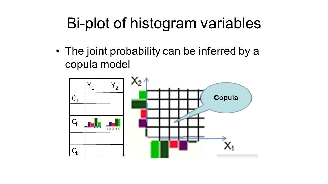 Bi-plot of histogram variables The joint probability can be inferred by a copula model Y2Y2 Y1Y1 CiCi CkCk C1C1 Copula
