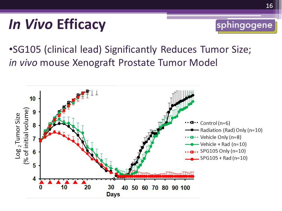 SG105 (clinical lead) Significantly Reduces Tumor Size; in vivo mouse Xenograft Prostate Tumor Model 16 In Vivo Efficacy Log 2 Tumor Size (% of initia