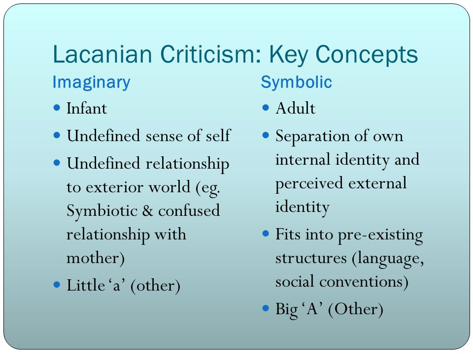 Lacanian Criticism: Key Concepts ImaginarySymbolic Infant Undefined sense of self Undefined relationship to exterior world (eg. Symbiotic & confused r