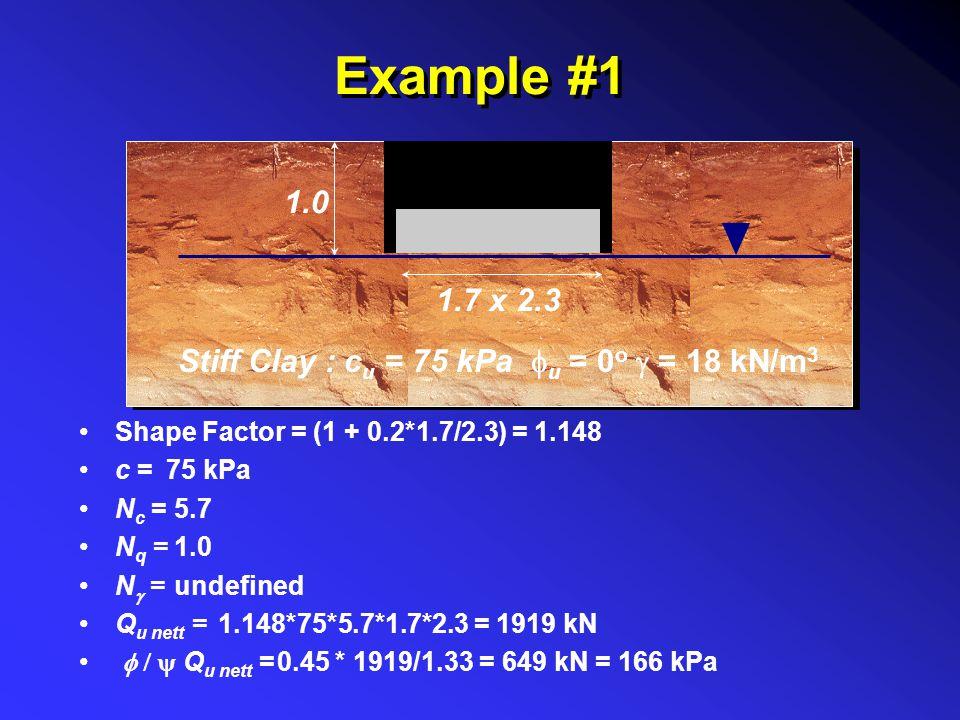 Example #1 Stiff Clay : c u = 75 kPa  u = 0 o  = 18 kN/m 3 1.0 1.7 x 2.3 Shape Factor = c = N c = N q = N  = Q u nett =  Q u nett = (1 + 0.2*1