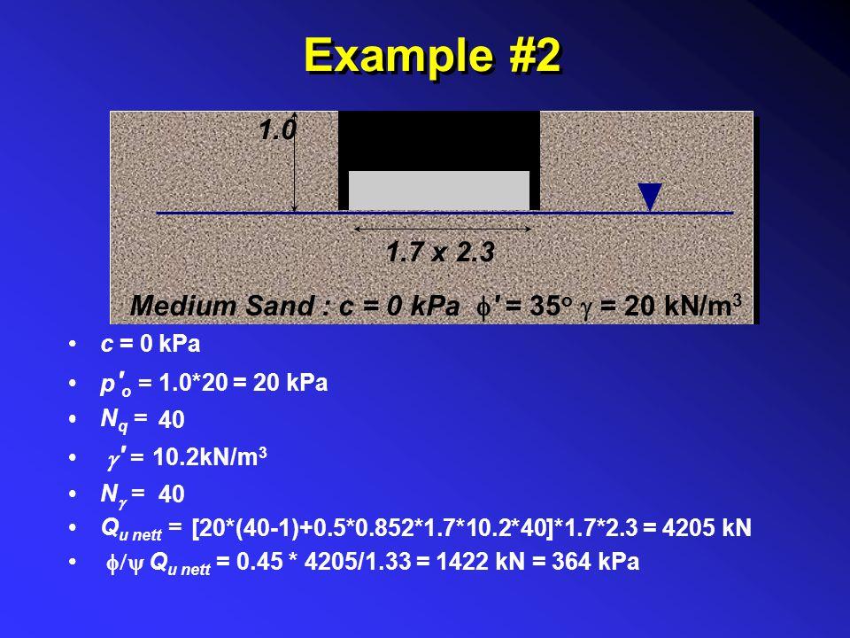 Example #2 Medium Sand : c = 0 kPa  ' = 35 o  = 20 kN/m 3 1.0 1.7 x 2.3 c = p ' o = N q =  ' = N  = Q u nett =  Q u nett = 0 kPa 1.0*20 = 20 kP