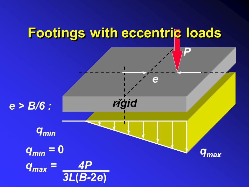 q min = 0 q max = 4P. 3L(B-2e) q min q max e P e > B/6 : rigid Footings with eccentric loads