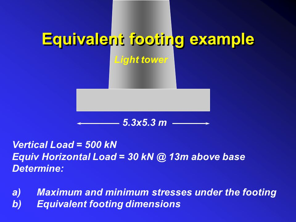Equivalent footing example Light tower 5.3x5.3 m Vertical Load = 500 kN Equiv Horizontal Load = 30 kN @ 13m above base Determine: a)Maximum and minimu
