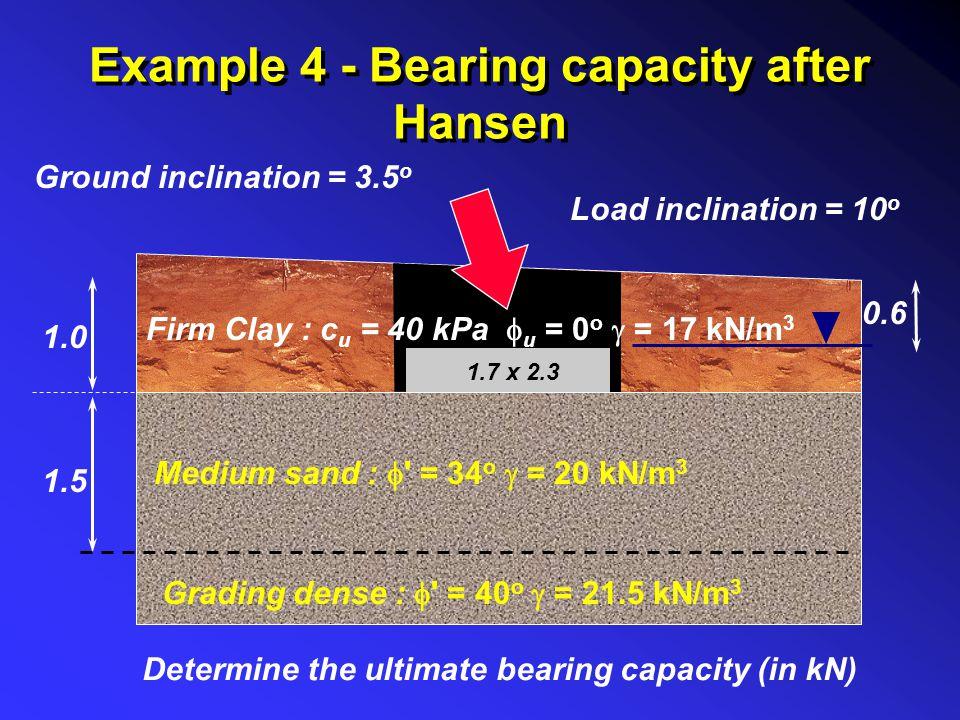 Example 4 - Bearing capacity after Hansen 1.0 0.6 1.7 x 2.3 Medium sand :  ' = 34 o  = 20 kN/m 3 Grading dense :  ' = 40 o  = 21.5 kN/m 3 1.5 Load