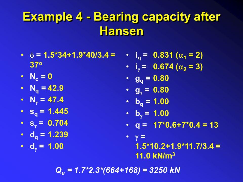 0.831 (  1 = 2) 0.674 (  2 = 3) 0.80 1.00 17*0.6+7*0.4 = 13 1.5*10.2+1.9*11.7/3.4 = 11.0 kN/m 3  = N c = N q = N  = s q = s  = d q = d  = Exampl