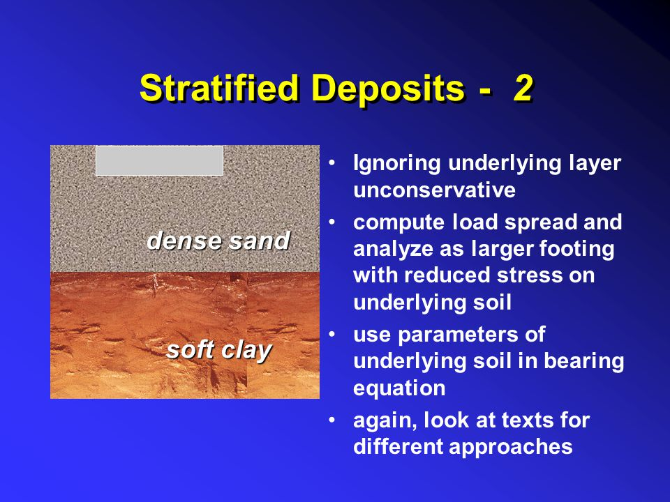 Stratified Deposits - 2 Ignoring underlying layer unconservative compute load spread and analyze as larger footing with reduced stress on underlying s