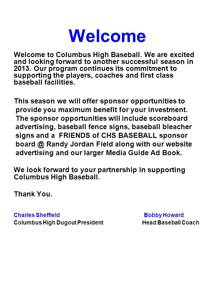 Welcome Welcome to Columbus High Baseball.