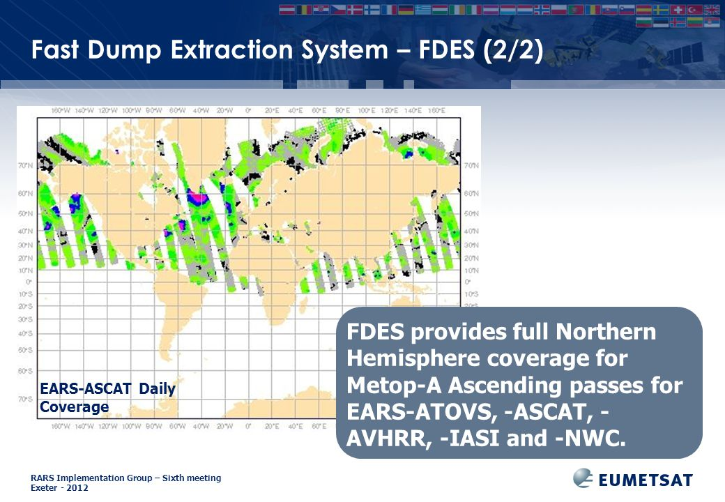 RARS Implementation Group – Sixth meeting Exeter - 2012 Fast Dump Extraction System – FDES (2/2) FDES provides full Northern Hemisphere coverage for M