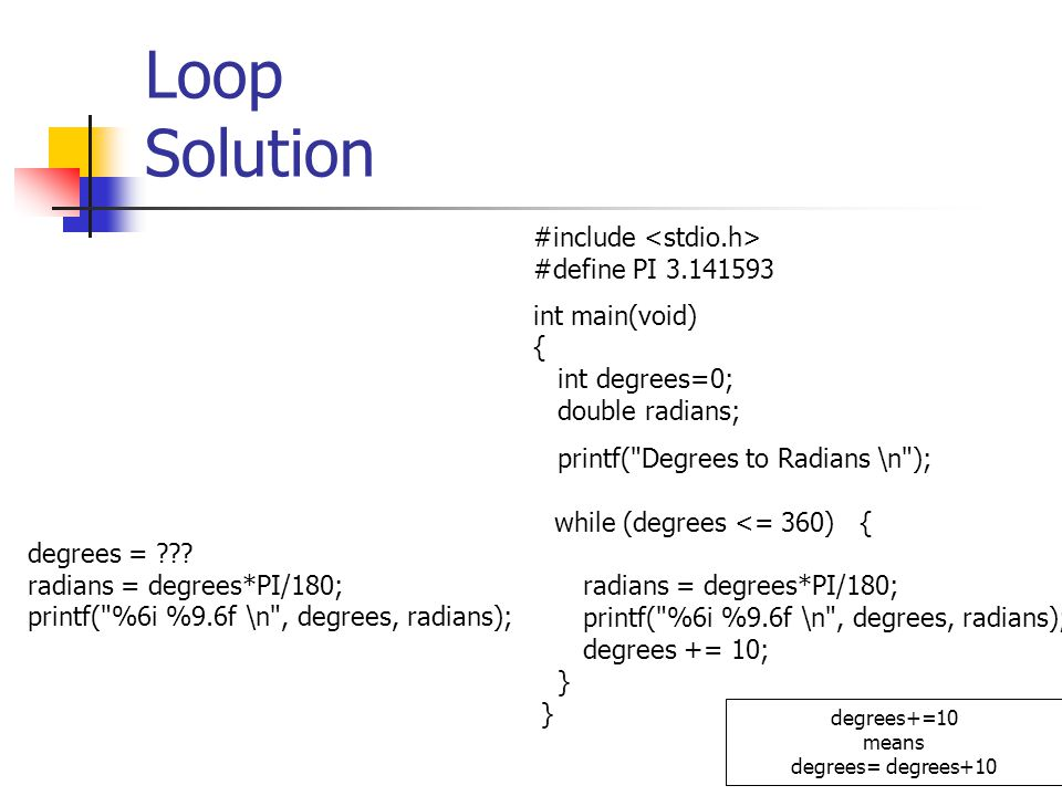 113 Loop Solution degrees = ??? radians = degrees*PI/180; printf(