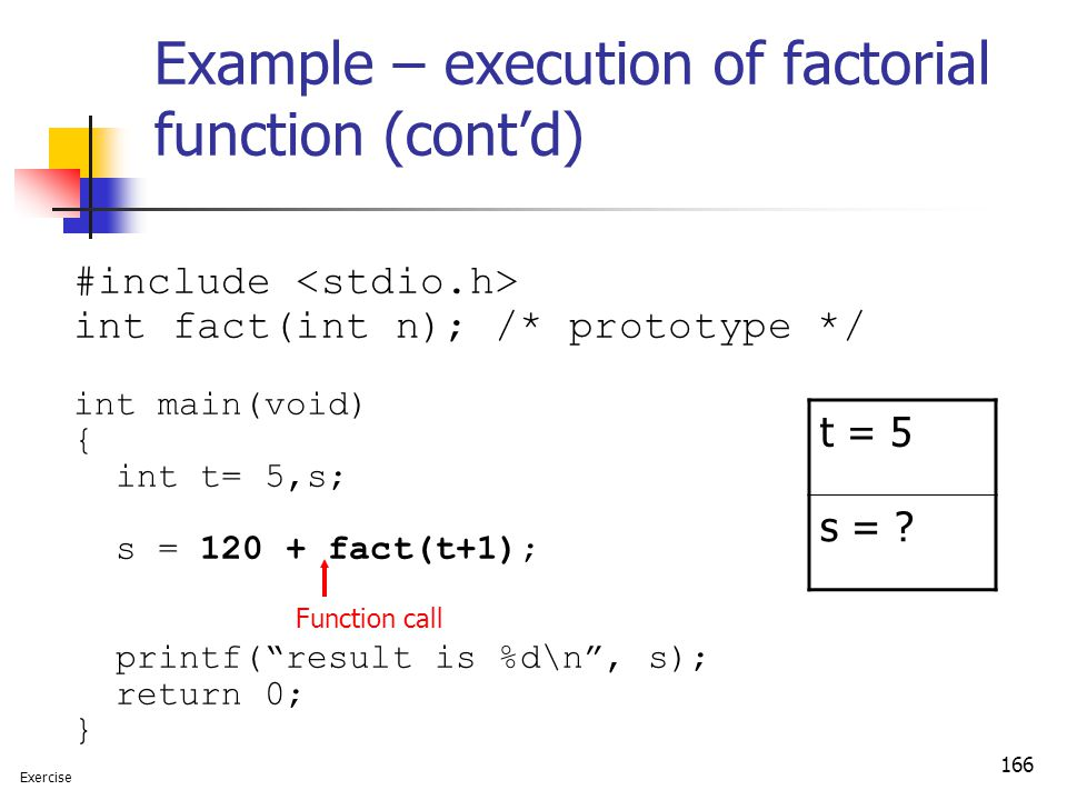 166 Example – execution of factorial function (cont'd) #include int fact(int n); /* prototype */ int main(void) { int t= 5,s; s = 120 + fact(t+1); pri