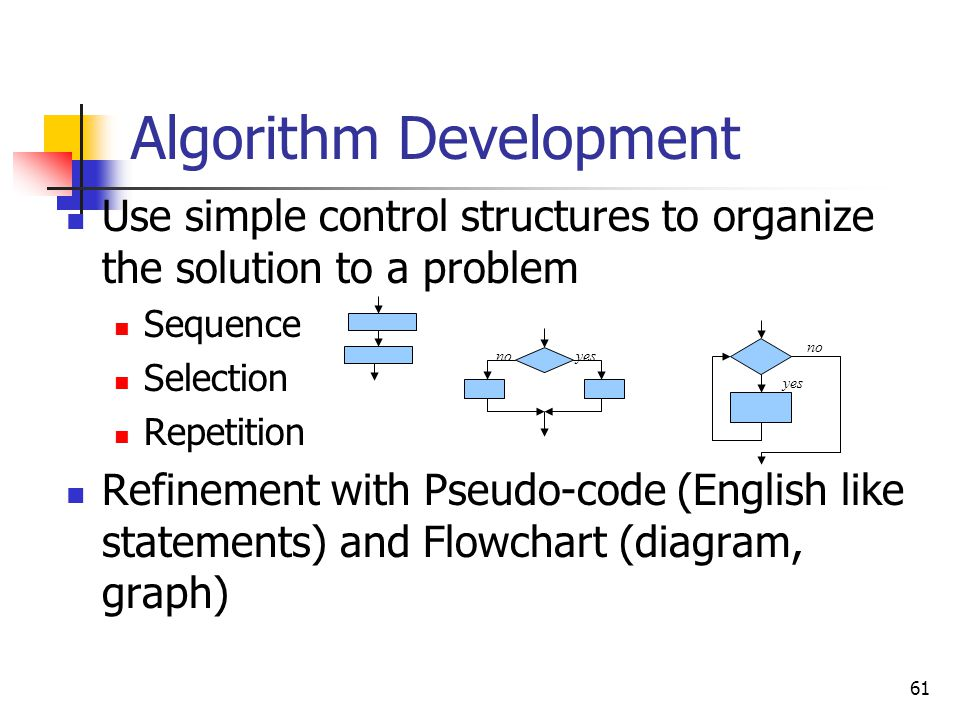 61 Algorithm Development Use simple control structures to organize the solution to a problem Sequence Selection Repetition Refinement with Pseudo-code