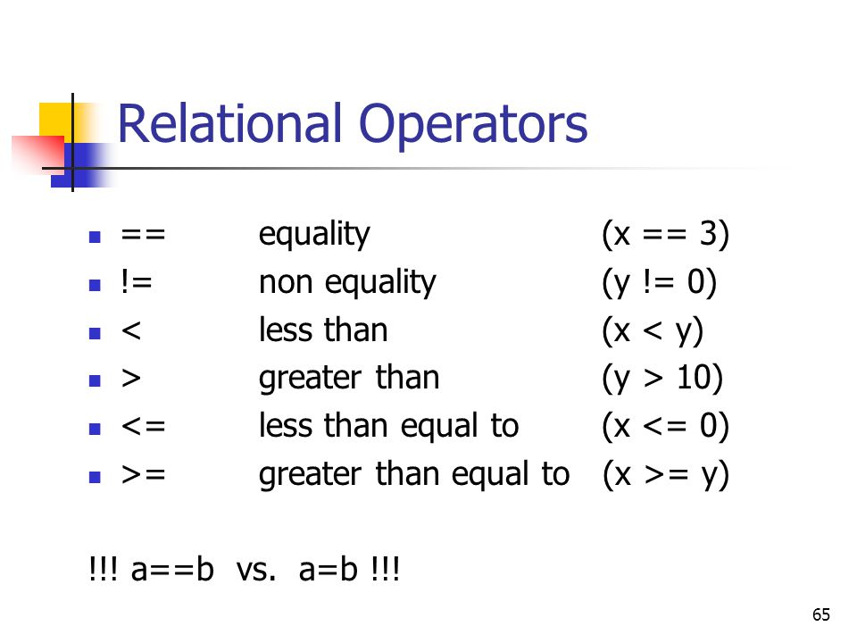 65 Relational Operators == equality(x == 3) !=non equality (y != 0) <less than (x < y) >greater than (y > 10) <=less than equal to (x <= 0) >=greater
