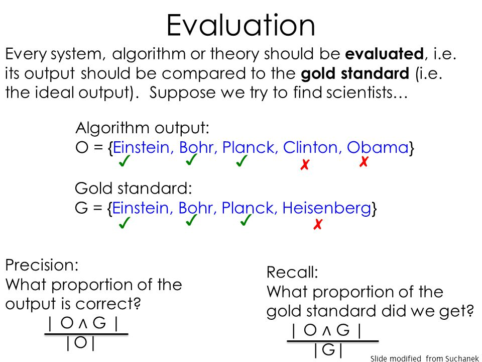 Evaluation Every system, algorithm or theory should be evaluated, i.e.