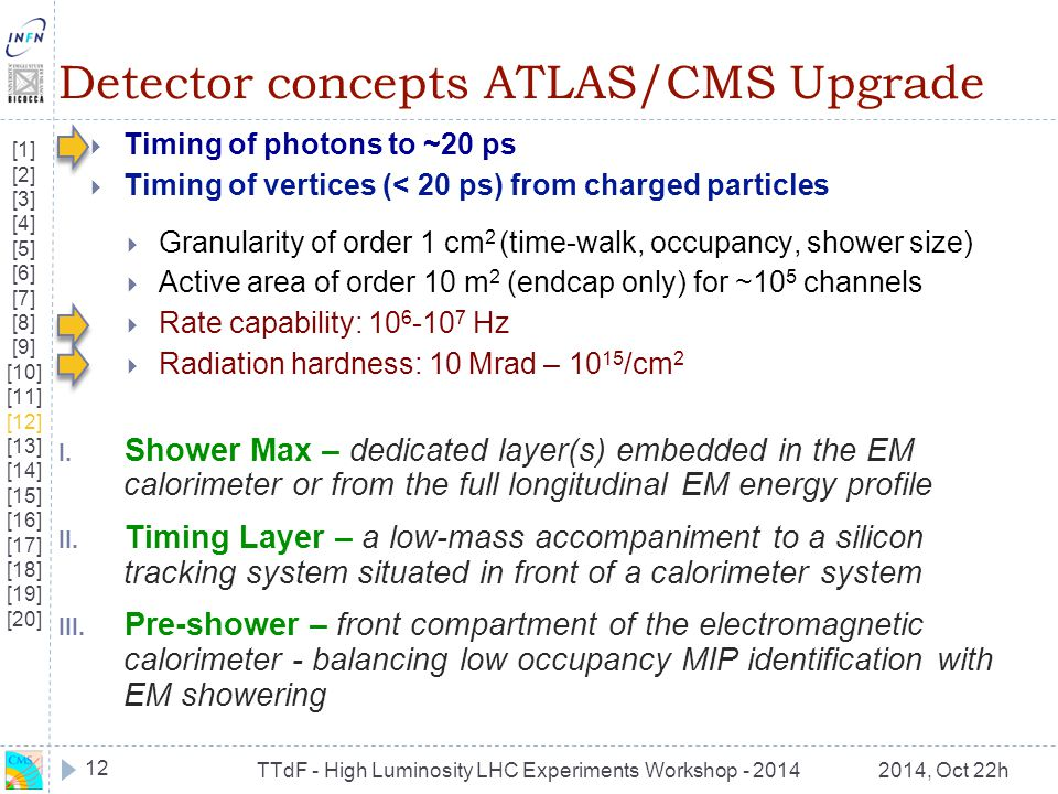 TTdF - High Luminosity LHC Experiments Workshop - 20142014, Oct 22h Detector concepts ATLAS/CMS Upgrade  Timing of photons to ~20 ps  Timing of vert
