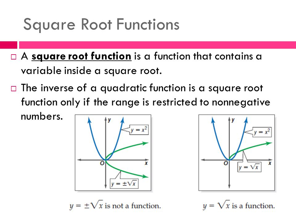 Square Root Functions  A square root function is a function that contains a variable inside a square root.  The inverse of a quadratic function is a